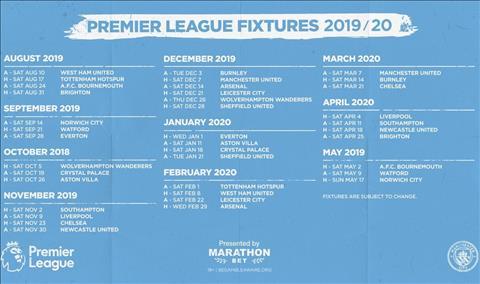 lich thi dau Man City mua 2019-20