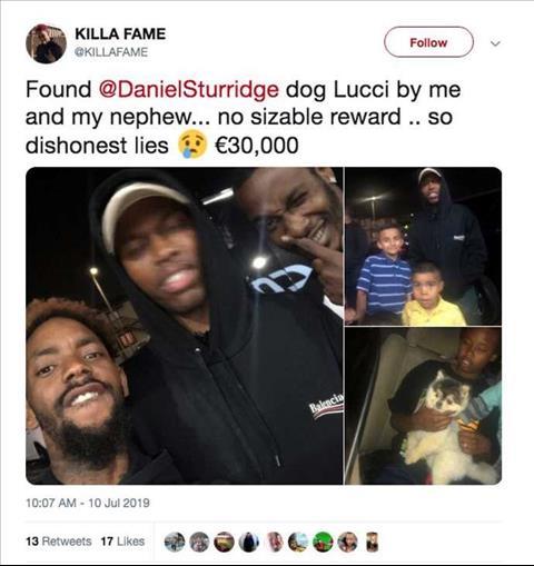 Sturridge mất chó và bị tố bủn xỉn thất hứa với ân nhân hình ảnh