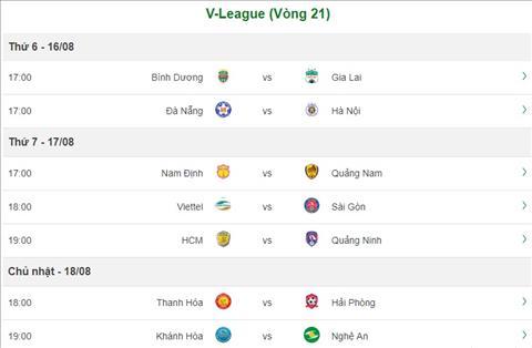 Lich thi dau vong 21 V-League 2019