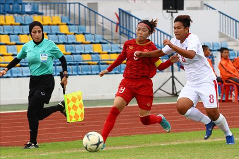 Tuyen nu Viet Nam (do) vao chung ket AFF Cup 2019. Anh: Philippine Football Federation.