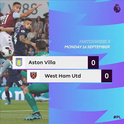 Kết quả bóng đá hôm nay 1792019 Aston Villa 0-0 West Ham hình ảnh