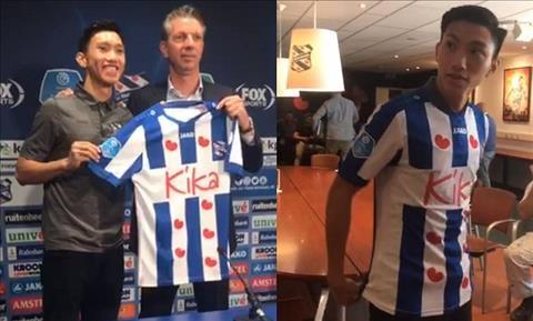 Van Hau mac ao dau cua SC Heerenveen trong buoi hop bao ra mat. Anh: SC Heerenveen.