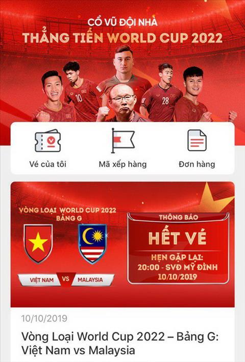 Toàn bộ vé trận Việt Nam - Malaysia đã được bán hết hình ảnh