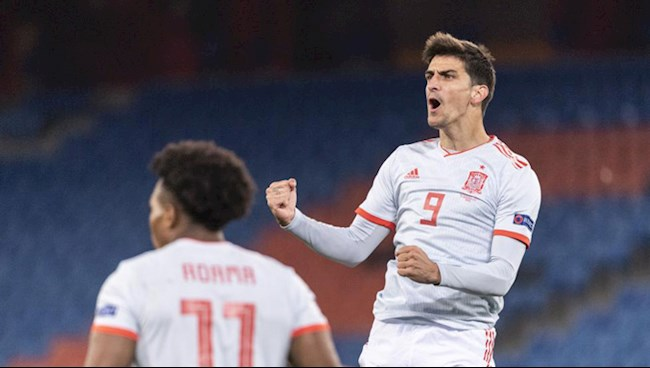 Moreno ghi ban go hoa 1-1 cho Tay Ban Nha o phut 89