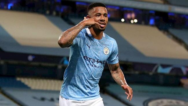 Gabriel Jesus vui mừng khi ghi bàn trở lại cho Man City hình ảnh
