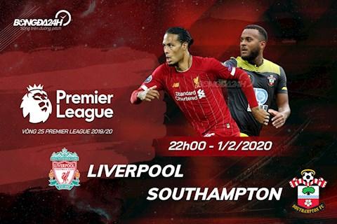 Liverpool vs Southampton vong 25 Ngoai hang Anh 2019/20