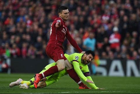 Andy Robertson của Liverpool tiếc nuối vì chơi xấu Messi hình ảnh