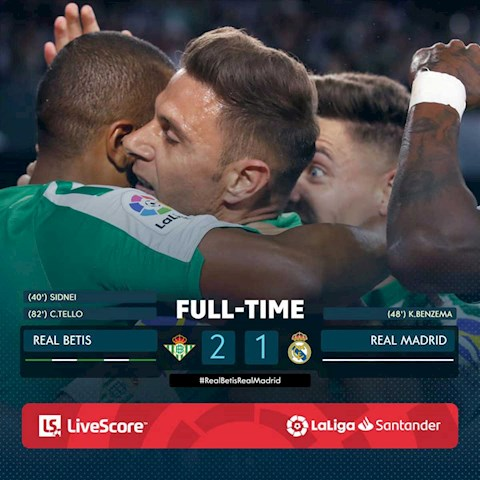 Link xem video Real Betis vs Real Madrid 2-1: Cristian Tello giup Barca vuot qua Real tren bang xep hang La Liga