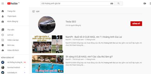 Kenh Youtube cua HAGL bi doi ten thanh Tesla SEO