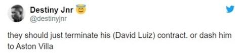 Arsenal nen huy hop dong voi Luiz hoac day anh ta toi Aston Villa