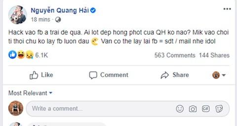 Facebook Quang Hải bị hack hình ảnh