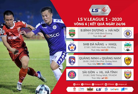 Ket qua bong da Viet Nam vong 6 V-League ngay hom nay 24/6