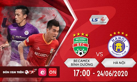 Truc tiep bong da Binh Duong vs Ha Noi 17h00 ngay hom nay 24/6 vong 6 V-League 2020