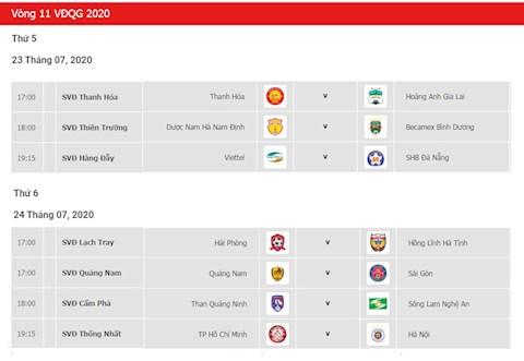 Lich thi dau Vong 11 V-League 2020