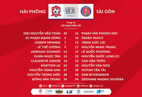 Danh sach xuat phat tran Hai Phong vs Sai Gon