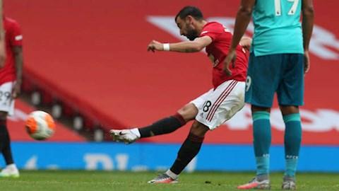 Tiền vệ Bruno Fernandes đá phạt thành bàn nhờ Pogba hình ảnh