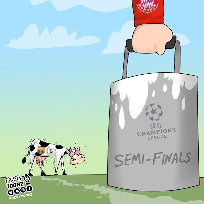 Biếm họa Con bò Barcelona của Setien đã bị Bayern Munich vắt sữa hình ảnh 4