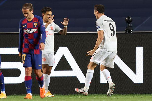 Barca vs Bayern Munich Coutinho ghi ban