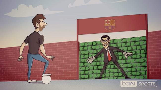 Biếm họa Barcelona dùng bức tường 700 triệu euro để ngăn Messi ra đi hình ảnh