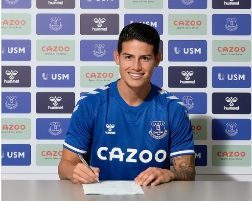 James Rodriguez ky hop dong voi Everton