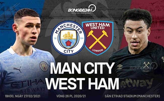 Trực tiếp bóng đá Man City vs West Ham vòng 26 Ngoại hạng Anh 2020/21 lúc 19h30 ngày hôm nay 27/2