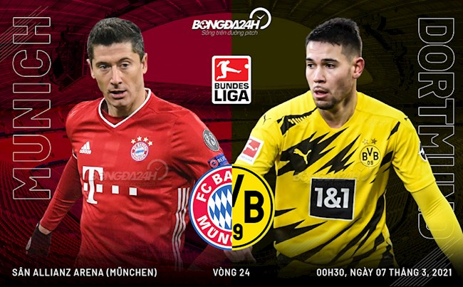 Trực tiếp bóng đá Bayern Munich vs Dortmund vòng 24 Bundesliga 2020/21 lúc 0h30 ngày 7/3