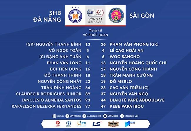 Danh sách xuất phát trận Đà Nẵng vs Sài Gòn