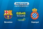 Barca vs Espanyol (2h45 ngay 19/12): Dung xem thuong ke sat vach!