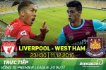 TRỰC TIẾP Liverpool vs West Ham 23h30 ngày 11/12 (Vòng 15 NHA 2016/17)