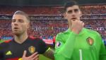 Hanh dong la cua thu mon Courtois khi hat quoc ca o VCK Euro 2016