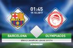 TRỰC TIẾP Barca vs Olympiakos 01h45 ngày 19/10 (Champions League 2017/18)