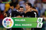 Malaga 0-2 Real Madrid (KT): Nhe nhang sai buoc len dinh vinh quang!
