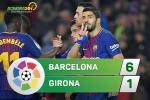 Tổng hợp: Barca 6-1 Girona (Vòng 25 La Liga 2017/18)