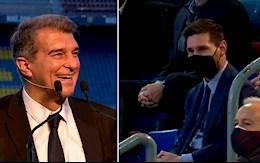 VIDEO: Tan chu tich Joan Laporta noi the nay thi sao Messi no bo Barca?