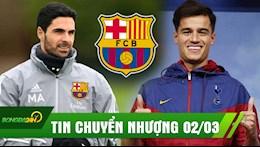 TIN CHUYỂN NHƯỢNG 02/03: Mourinho yêu cầu Tottenham mua Coutinho; Mikel Arteta có thể dẫn dắt Barcelona