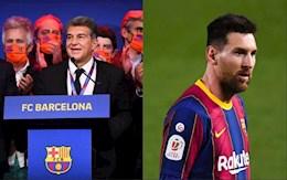 VIDEO: Loi hua tien quyet cua chu tich Barca Joan Laporta - Giu Messi o lai!