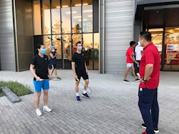 Đoàn Thể thao Việt Nam tập luyện ngay sau khi đặt chân đến Nhật Bản