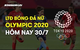 Lịch thi đấu bóng đá nữ Olympic 2020 hôm nay 30/7/2021
