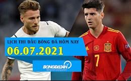 Lịch thi đấu bóng đá hôm nay 6/7/2021: Italia vs Tây Ban Nha; Brazil vs Peru